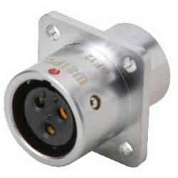 Guľatý konektor DIN Deltron Connectors DELMSF1213/S4 IP67, mosadz pochrómovaná, pólů 4, 1 ks
