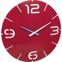 Quartz nástenné hodiny TFA Dostmann Contour 60.3047.05, vonkajší Ø 35 cm, červená