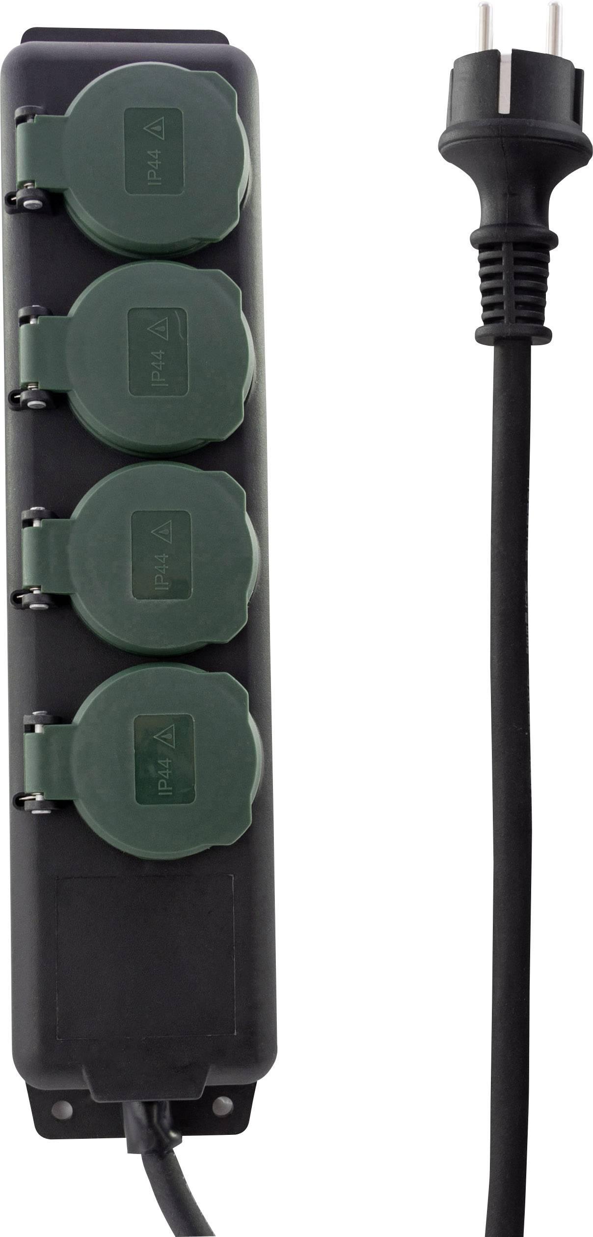 4 fach anschraubbar Steckdosenleiste IP44 3 x 1,5²mm 1,5 m schwarz//gelb