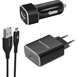 USB nabíjačka Pro Mate UnigearQC3-EU, čierna, nerezová oceľ