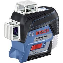 Krížová vodováha laserová Bosch Professional GLL 3-80 C , Dosah (max.): 120 m, Kalibrované podľa: bez certifikátu