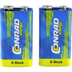 Image of Conrad energy 6LR61 9 V Block-Batterie Alkali-Mangan 500 mAh 9 V 2 St.