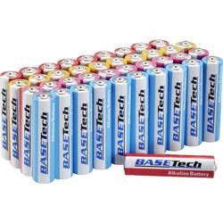 Mikrotužková batérie typu AAA alkalicko-mangánová Basetech LR03, 1300 mAh, 1.5 V, 40 ks
