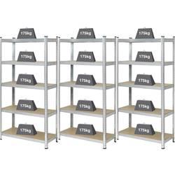 Regál na tažké predmety Basetech BT-1897698-3, (š x v x h) 900 x 1800 x 400 mm, Zaťažiteľnosť (dno) 175 kg, kov, MDF, pozinkovaný