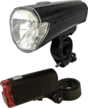 Arcas Fahrradbeleuchtung Set LED akkubetrieben Schwarz