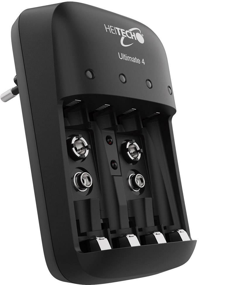 Heitech Ultimate 4 Rundzellen Ladegerät NiMH, NiCd 9 V Block, Micro (AAA), Mignon (AA)