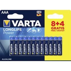 Mikrotužková batérie typu AAA alkalicko-mangánová Varta Longlife Power 8+4, 1.5 V, 12 ks