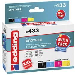 Kompatibilná sada 4 ks. náplní do tlačiarne Edding EDD-433 Multi 4 Brother LC980bk+colREMAN 18-433, čierna, zelenomodrá, purpurová, žltá