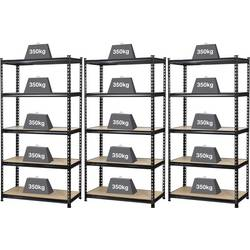 Regál na tažké predmety TOOLCRAFT 2195606, (š x v x h) 900 x 1800 x 450 mm, Zaťažiteľnosť (dno) 350 kg, kov, MDF, čierna