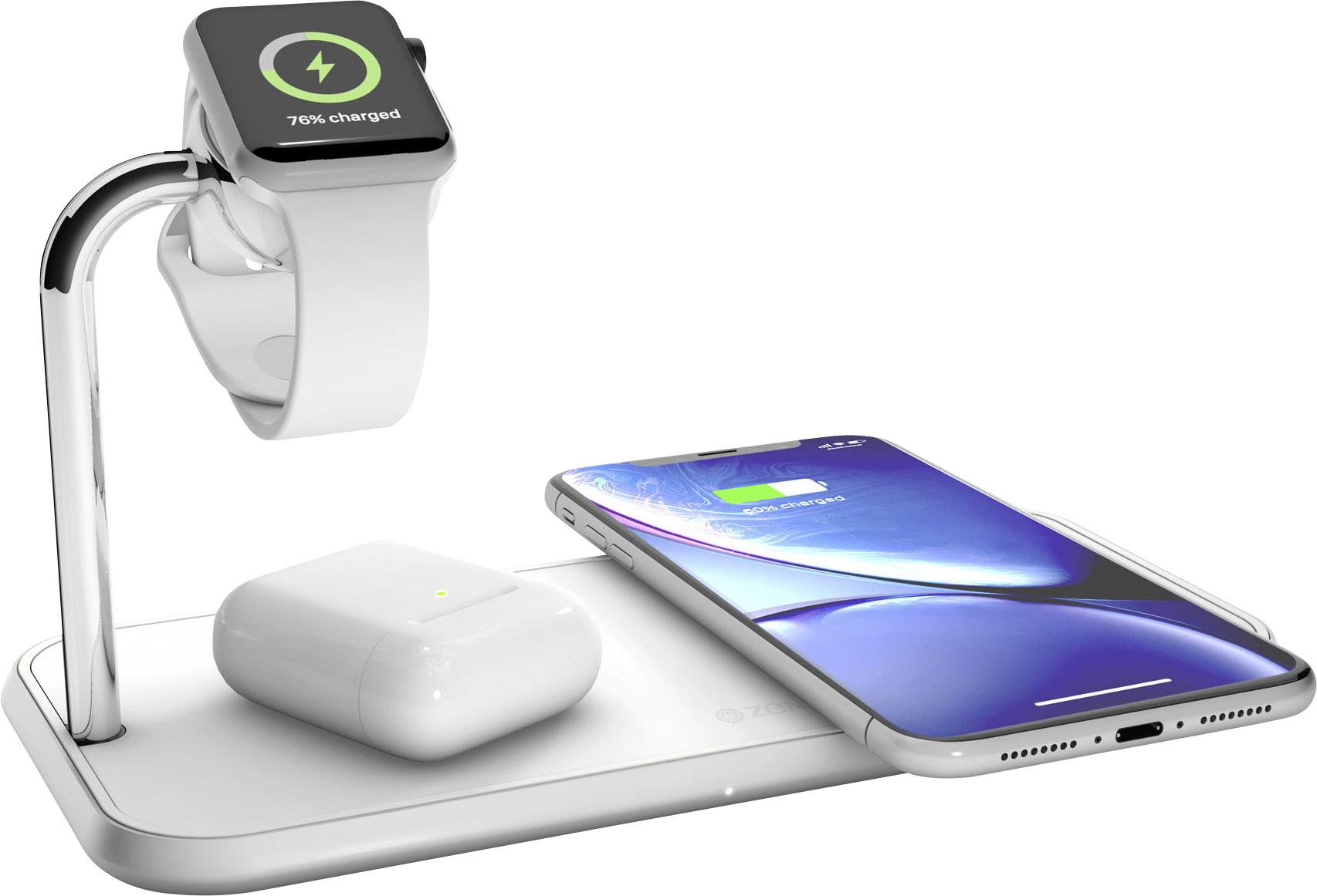 ZENS Induktions Ladegerät 2000 mA Dual qi Apple Watch ZEDC05W Ausgänge Induktionslade Standard Weiß