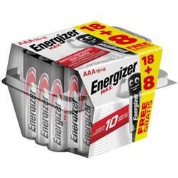 Mikrotužková batérie typu AAA alkalicko-mangánová Energizer Max 18+8 gratis, 1.5 V, 26 ks