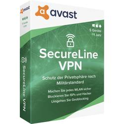 Image of avast SecureLine VPN - 2020 (Multi-Device) Vollversion, 5 Lizenzen Windows, Mac, Android, iOS Sicherheits-Software