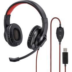 Headset Hama HS-USB400 cez uši s USB stereo, káblový čierna, červená