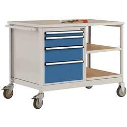 Mobilný pracovný stôl model 1 s naolejovanou multiplexnou krycou doskou 30 mm Š x H x H 1135 x 590 x 810 mm Manuflex MW2001.0002 MW2001.0002