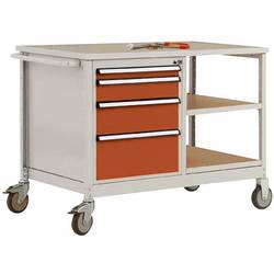 Mobilný pracovný stôl model 1 s naolejovanou multiplexnou krycou doskou 30 mm Š x H x H 1135 x 590 x 810 mm Manuflex MW2001.2001 MW2001.2001
