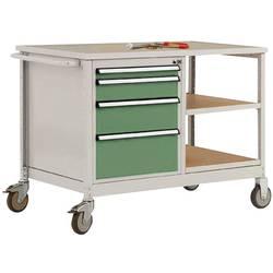 Mobilný pracovný stôl model 1 s naolejovanou multiplexnou krycou doskou 30 mm Š x H x H 1135 x 590 x 810 mm Manuflex MW2001.6011 MW2001.6011