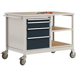 Mobilný pracovný stôl model 1 s naolejovanou multiplexnou krycou doskou 30 mm Š x H x H 1135 x 590 x 810 mm Manuflex MW2001.7016 MW2001.7016