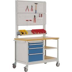 Mobilný pracovný stôl model 6 s naolejovanou multiplexnou krycou doskou 30 mm Š x H x H 1135 x 590 x 810 mm Manuflex MW2033.5007 MW2033.5007