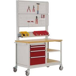 Mobilný pracovný stôl model 6 s naolejovanou multiplexnou krycou doskou 30 mm Š x H x H 1135 x 590 x 810 mm Manuflex MW2033.3003 MW2033.3003