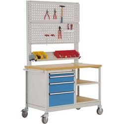 Mobilný pracovný stôl model 6 s naolejovanou multiplexnou krycou doskou 30 mm Š x H x H 1135 x 590 x 810 mm Manuflex MW2033.5012 MW2033.5012