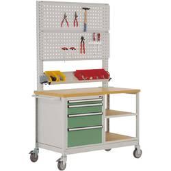 Mobilný pracovný stôl model 6 s naolejovanou multiplexnou krycou doskou 30 mm Š x H x H 1135 x 590 x 810 mm Manuflex MW2033.6011 MW2033.6011