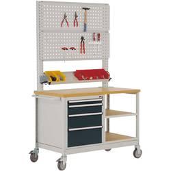 Mobilný pracovný stôl model 6 s naolejovanou multiplexnou krycou doskou 30 mm Š x H x H 1135 x 590 x 810 mm Manuflex MW2033.7016 MW2033.7016