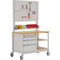 Mobilný pracovný stôl model 6 s naolejovanou multiplexnou krycou doskou 30 mm Š x H x H 1135 x 590 x 810 mm Manuflex MW2033.7035 MW2033.7035