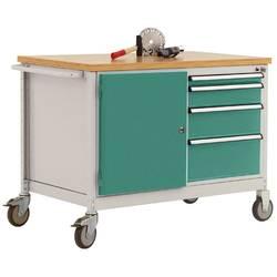 Mobilný pracovný stôl model 4 s naolejovanou multiplexnou krycou doskou 30 mm š xhxv 1135 x 590 x 810 mm Manuflex TP1004.0001 TP1004.0001