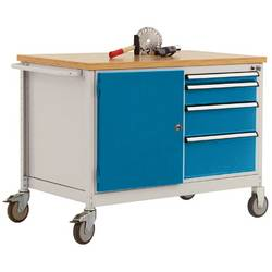 Mobilný pracovný stôl model 4 s naolejovanou multiplexnou krycou doskou 30 mm š xhxv 1135 x 590 x 810 mm Manuflex TP1004.5007 TP1004.5007