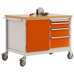 Mobilný pracovný stôl model 4 s naolejovanou multiplexnou krycou doskou 30 mm š xhxv 1135 x 590 x 810 mm Manuflex TP1004.2001 TP1004.2001