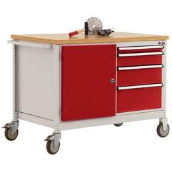 Mobilný pracovný stôl model 4 s naolejovanou multiplexnou krycou doskou 30 mm š xhxv 1135 x 590 x 810 mm Manuflex TP1004.3003 TP1004.3003