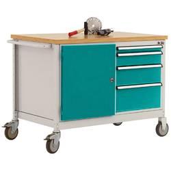 Mobilný pracovný stôl model 4 s naolejovanou multiplexnou krycou doskou 30 mm š xhxv 1135 x 590 x 810 mm Manuflex TP1004.5021 TP1004.5021