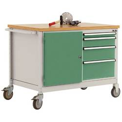 Mobilný pracovný stôl model 4 s naolejovanou multiplexnou krycou doskou 30 mm š xhxv 1135 x 590 x 810 mm Manuflex TP1004.6011 TP1004.6011