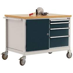 Mobilný pracovný stôl model 4 s naolejovanou multiplexnou krycou doskou 30 mm š xhxv 1135 x 590 x 810 mm Manuflex TP1004.7016 TP1004.7016