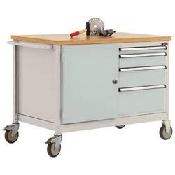 Mobilný pracovný stôl model 4 s naolejovanou multiplexnou krycou doskou 30 mm š xhxv 1135 x 590 x 810 mm Manuflex TP1004.7035 TP1004.7035