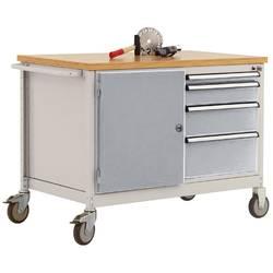 Mobilný pracovný stôl model 4 s naolejovanou multiplexnou krycou doskou 30 mm š xhxv 1135 x 590 x 810 mm Manuflex TP1004.9006 TP1004.9006