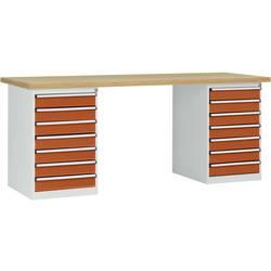 Systém pracovných stolov COMBI, 2 puzdro model 3 s multiplexnou doskou, ŠxHxH = 2000 x 700 x 840 mm Manuflex WC5126.2001 WC5126.2001