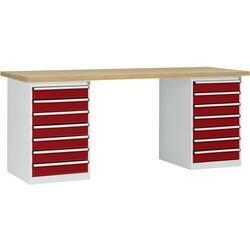 Systém pracovných stolov COMBI, 2 puzdro model 3 s multiplexnou doskou, ŠxHxH = 2000 x 700 x 840 mm Manuflex WC5126.3003 WC5126.3003