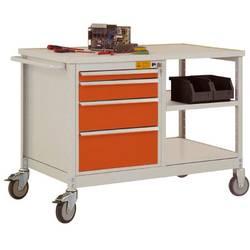 ESD mobilný pracovný stôl model 2 so zásuvkami a policami, ŠxHxH 1135 x 590 x 805 mm Manuflex LW1001.2001 LW1001.2001