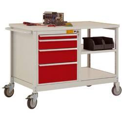 ESD mobilný pracovný stôl model 2 so zásuvkami a policami, ŠxHxH 1135 x 590 x 805 mm Manuflex LW1001.3003 LW1001.3003