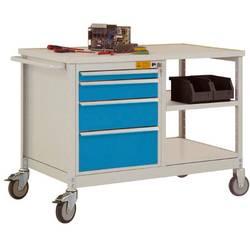 ESD mobilný pracovný stôl model 2 so zásuvkami a policami, ŠxHxH 1135 x 590 x 805 mm Manuflex LW1001.5012 LW1001.5012