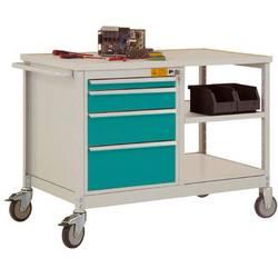 ESD mobilný pracovný stôl model 2 so zásuvkami a policami, ŠxHxH 1135 x 590 x 805 mm Manuflex LW1001.5021 LW1001.5021