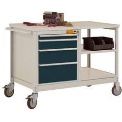 ESD mobilný pracovný stôl model 2 so zásuvkami a policami, ŠxHxH 1135 x 590 x 805 mm Manuflex LW1001.7016 LW1001.7016