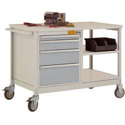 ESD mobilný pracovný stôl model 2 so zásuvkami a policami, ŠxHxH 1135 x 590 x 805 mm Manuflex LW1001.9006 LW1001.9006