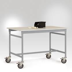Image of Manuflex LB4016.9006 ESD-Beistelltisch BASIS mobil mit Kunststoff-Tischplatte in Alusilber ähnlich RAL 9006, BxTxH: 1000