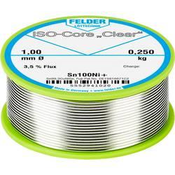 "Spájkovací cín bez olova Felder Löttechnik ISO-Core ""Clear"" Sn100Ni+, Sn99.25Cu0.7Ni0.05, cievka, 0.250 kg, 1 mm"