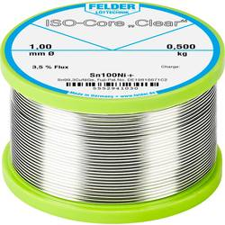 "Spájkovací cín Felder Löttechnik ISO-Core ""Clear"" Sn100Ni+, Sn99.25Cu0.7Ni0.05, cievka, 0.500 kg, 1 mm"