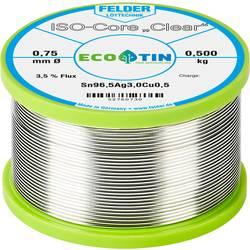 """Spájkovací cín Felder Löttechnik ISO-Core """"Clear"""" SAC305, Sn96.5Ag3Cu0.5, cievka, 0.500 kg, 0.75 mm"""
