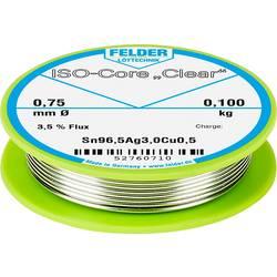 """Spájkovací cín Felder Löttechnik ISO-Core """"Clear"""" SAC305, Sn96.5Ag3Cu0.5, cievka, 0.100 kg, 0.75 mm"""