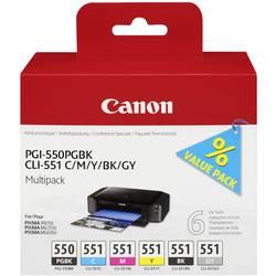 Sada náplní do tlačiarne Canon PGI-550PGBK/CLI-551 Multipack 6496B005, foto čierna, zelenomodrá, purpurová, žltá, čierna, šedá